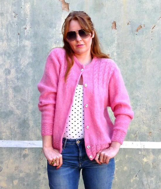 vintage cardigan pink 2