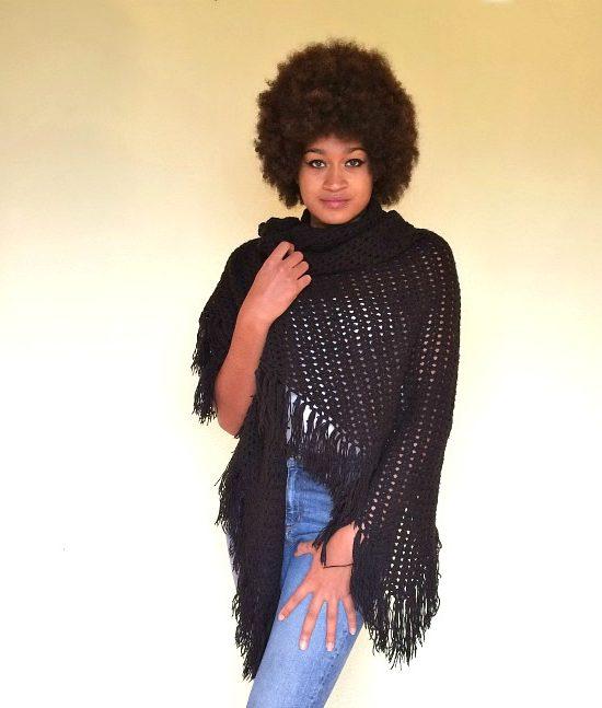 vintage 70s shawl black 1