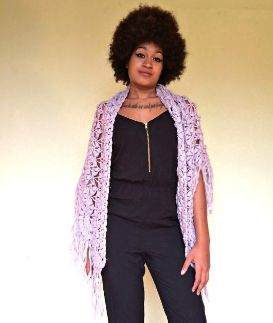 vintage 70s shawl mauve 11