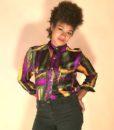 vintage 80s blouse tricolour 22