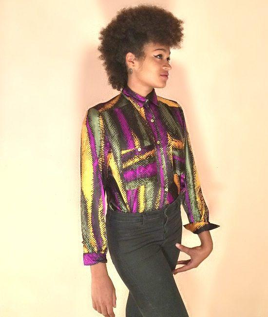 vintage 80s tricolour blouse