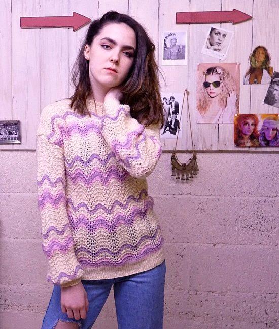 70s vintage lilac knit jumper 3
