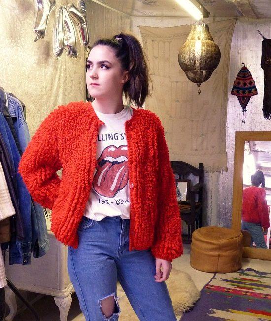 70s vintage loop knit cardigan 2