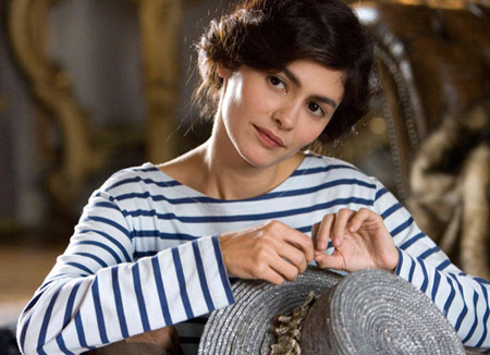 Audrey Tatou in the archetypical Chanel sailor top in 'Coco before Chanel'