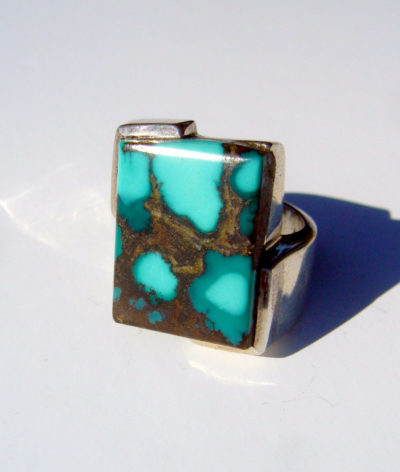 chunky silver ring with turquoise stone