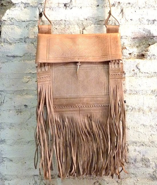 Boho berber tassel bag plain tan leather 876