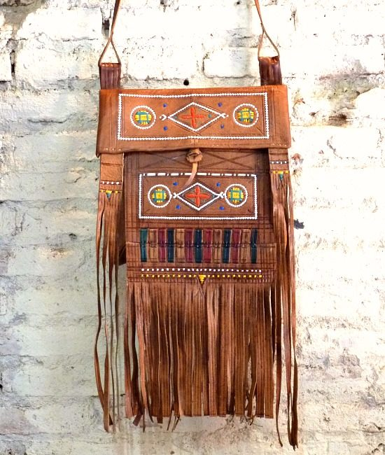 Boho berber tassel bag tan leather Inzegan