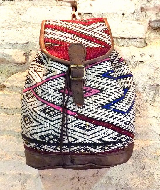 Boho leather and tribal blanket rucksack, Nador