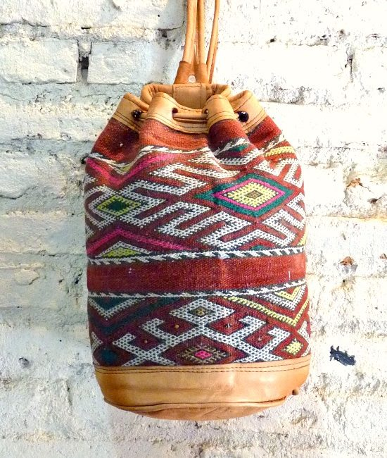 Boho leather and tribal carpet bucket rucksack