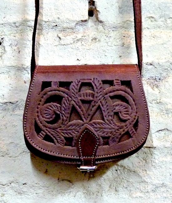 small boho tooled saddle bag brown leather