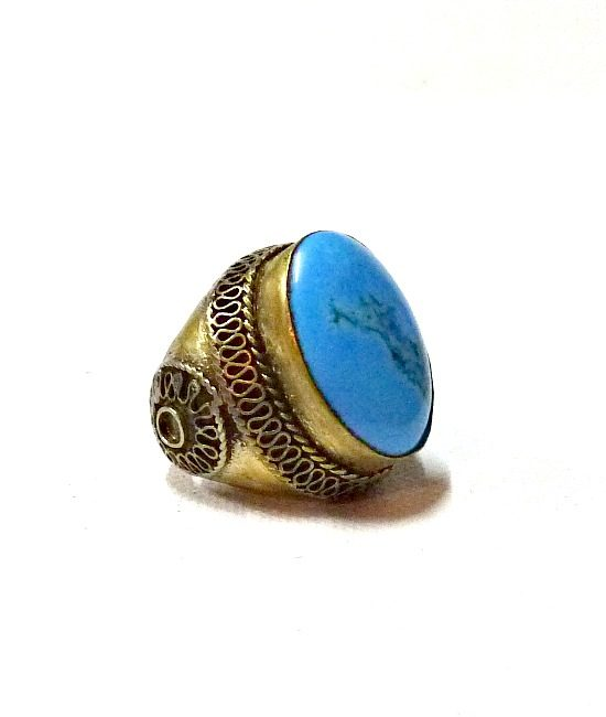 60s vintage Afghan hippie ring, turquoise & gold 1