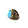 60s vintage Afghan hippie ring, turquoise & gold 111