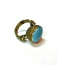 60s vintage brass ring, oval turquoise stone 111