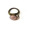 60s vintage brass ring, pink stone 111