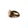 60s vintage brass ring, pink stone 1111
