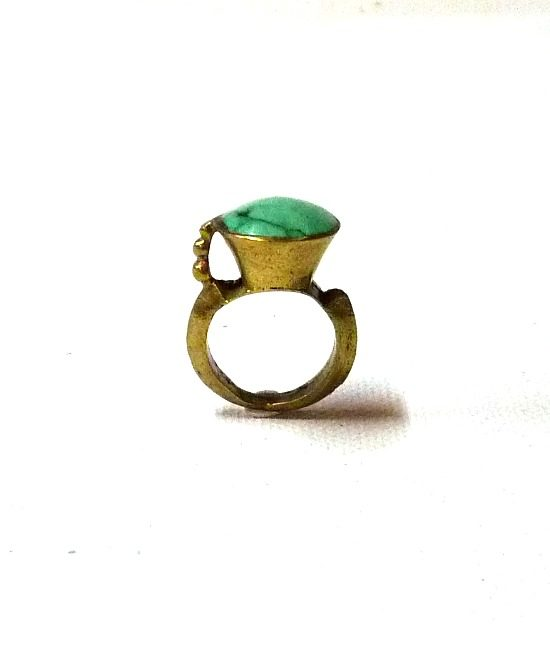 60s vintage brass ring, turquoise stone 1