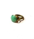 60s vintage brass ring, turquoise stone 111