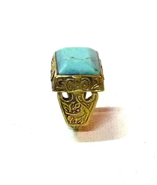 60s vintage hippie ring, square turquoise stone 1