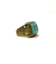 60s vintage hippie ring, square turquoise stone 111