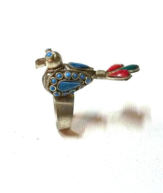 60s vintage peacock ring multicolour