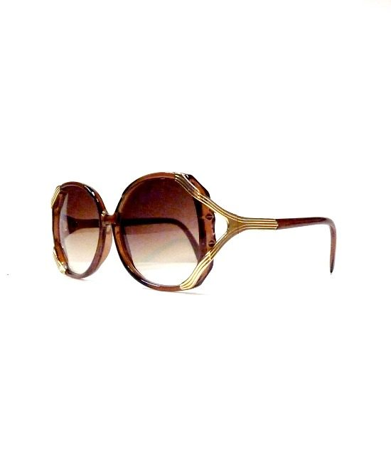 70s style gold trim sunglasses brown 22
