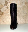 70s vintage brown leather ankle boots 111