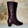 70s vintage burgundy leather fur lined boots 11