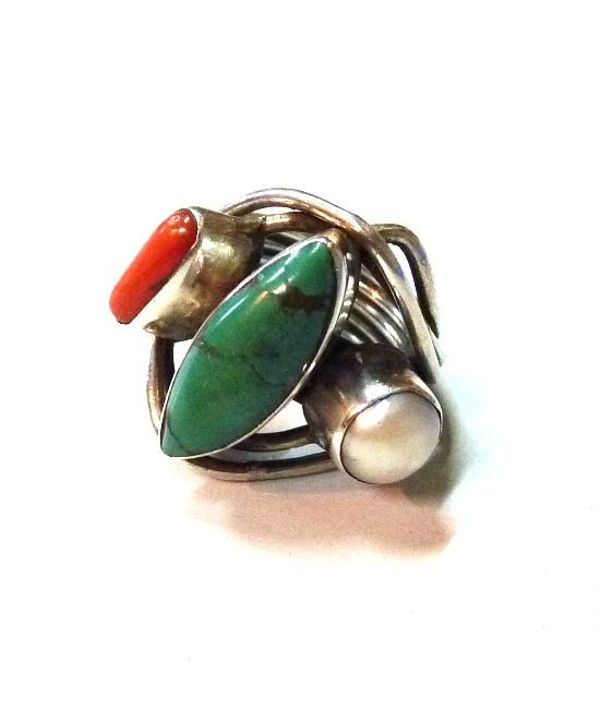 70s vintage silver ring turquoise, coral & pearl stones 1