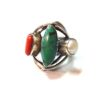 70s vintage silver ring turquoise, coral & pearl stones 11