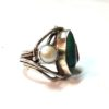 70s vintage silver ring turquoise, coral & pearl stones 111111