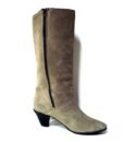70s vintage taupe suede fur lined boots 111