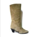 70s vintage taupe suede fur lined boots 1111