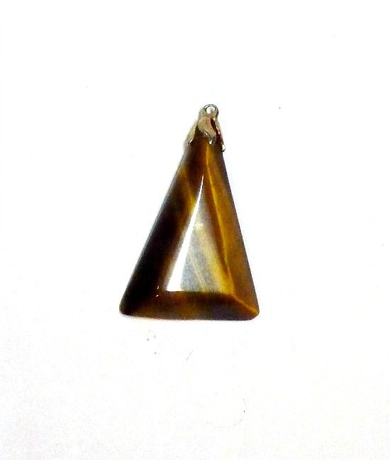 70s vintage triangle tigers eye pendant