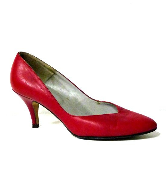 80s vintage red leather shoes 1