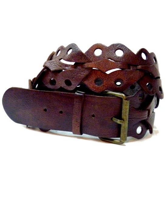 Moroccan leather link boho belt, small 1