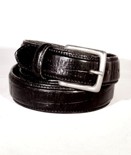 70s vintage slim mock croc belt