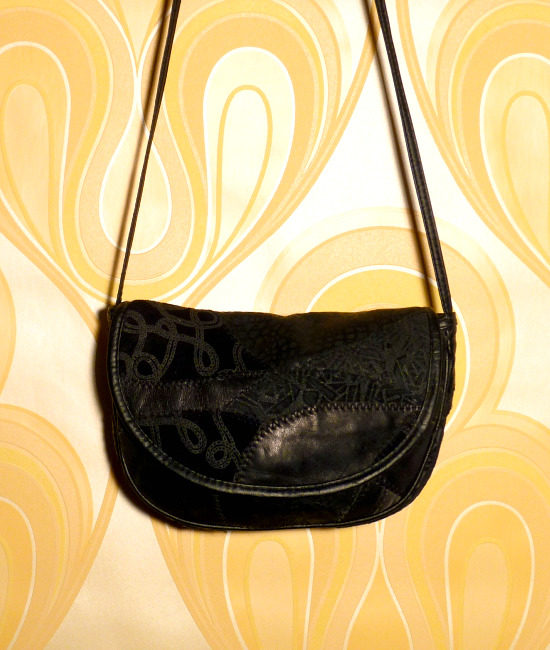 80s black patchwork vintage handbag 1