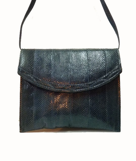 80s navy mock snakeskin bag 1