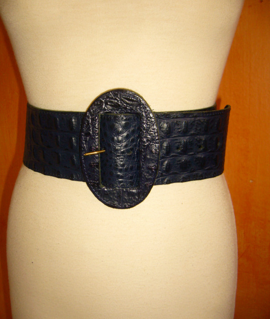 80s vintage black leather mock croc belt 1