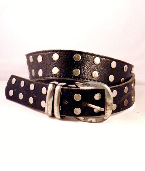 80s vintage leather circle stud belt