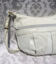 80's white snakeskin trim handbag 11