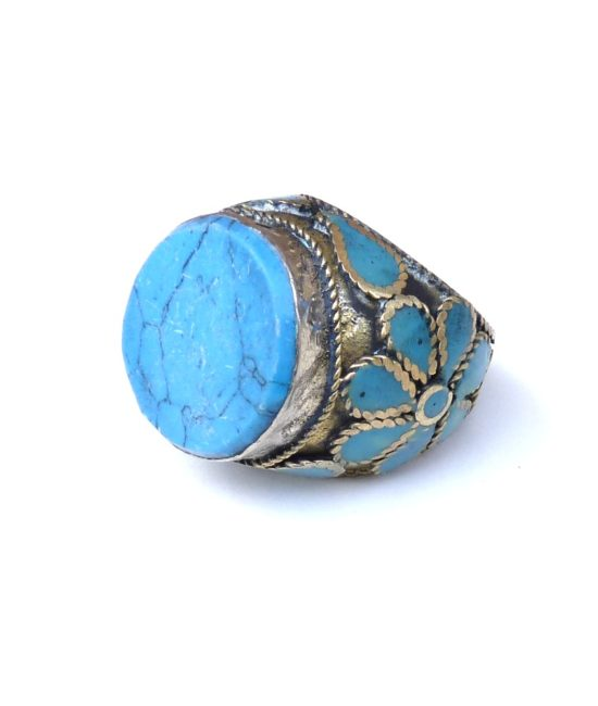 vintage chunky hippie ring turquoise 692