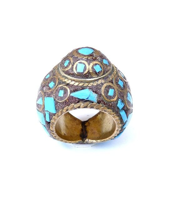 vintage chunky hippie ring turquoise 777