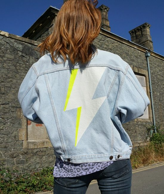 lightening bolt custom denim jacket me 1