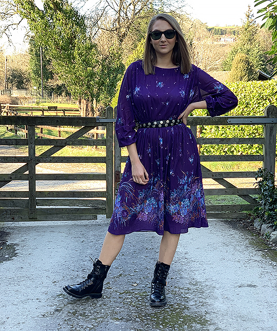 70s purple pleated dress 1