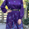 70s purple pleated dress 3