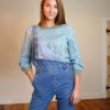70s vintage green scallop knit jumper 1