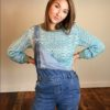 70s vintage green scallop knit jumper 4