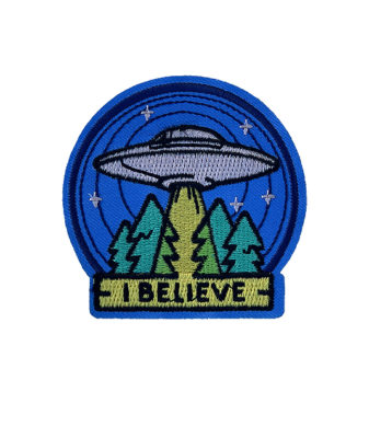 Blue 'I believe' UFO iron-on patch 2
