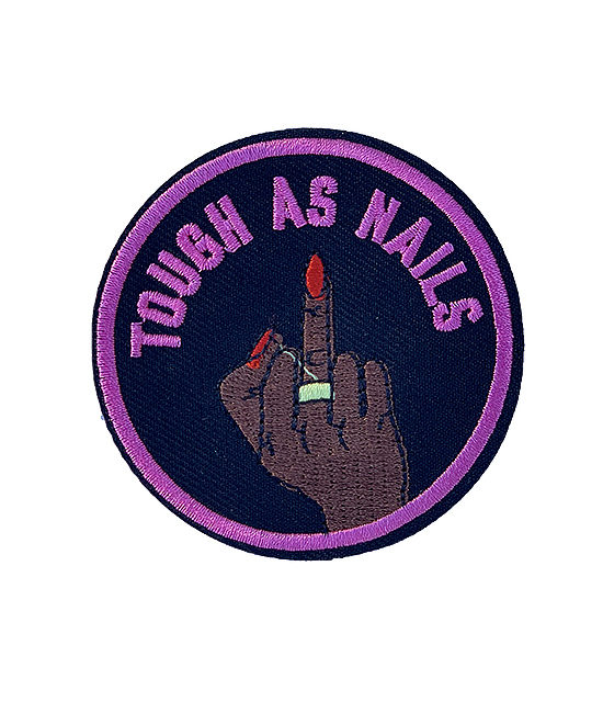 'Tough as nails' bright pink iron on patch 2
